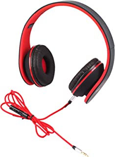 Teastar Foldable Headphones with Microphone and Volume Control Over Ear Wired Headset for iPhone iPad iPod Samsung LG Computer PC Tablet (Black with Red)