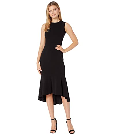 Calvin Klein Embellished Neck High-Low Dress (Black) Women