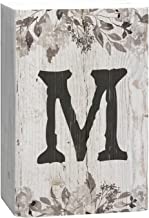 P. GRAHAM DUNN Letter M Floral White Distressed 4 x 5 Inch Solid Pine Wood Monogram Barnhouse Block Tabletop Sign