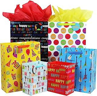 مجموعه کیسه های هدیه تولد Fzopo با دستگیره روبان ، مجموعه ای از کیف های بسته بندی شده 12 عیار با کیفیت عالی ، مجموعه ای از کیسه های کاغذ اندازه ، XL 13x17x6.5 ، بزرگ 12x15x4.8 ، متوسط 7x9x4.2 اینچ (6 طرح)