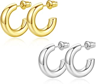 Howoo 14K Gold Plated Chunky Gold Hoops High Polished Gold Hoop Earrings for Women