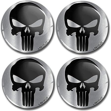 Biomar Labs 4 X 60mm Aufkleber 3d Silikon Punisher Skull Schädel Totenkopf Silber Für Radkappen Nabenkappen Radnabendeckel Rad Aufkleber Nabendeckel A 7960 Auto