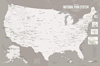 Best Maps Ever National Park System Units Map 24x36 Poster (White & Gray)