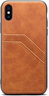 TACOO Slim Case for iPhone Xs Max,TACOO Leather Soft PU Khaki Protective Credit Card Holder Men Women Girl Durable Cover Shell Compatible with Apple iPhone Xs Max 6.5 inch