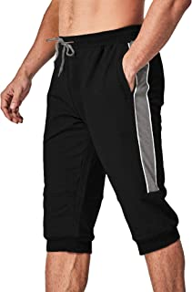 Men's 3/4 Capri Joggers with Pockets Drawstring Running Workout Capri Pants