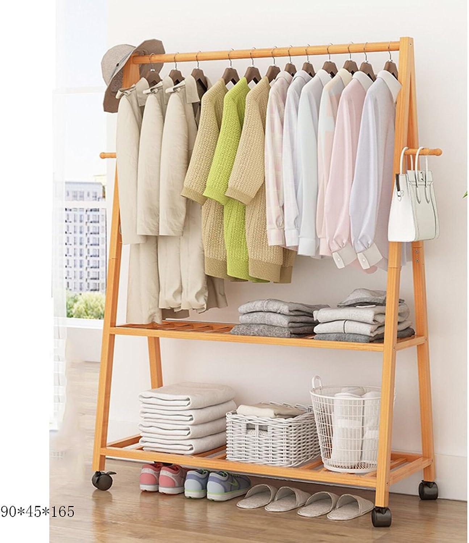 Xiaolin Hanger Simple Rack Floor Coat Rack Bedroom Floor Type Home Wood Hanging Clothes Rack Multifunctional with Pulley Optional Size (Size   90  45  165cm)