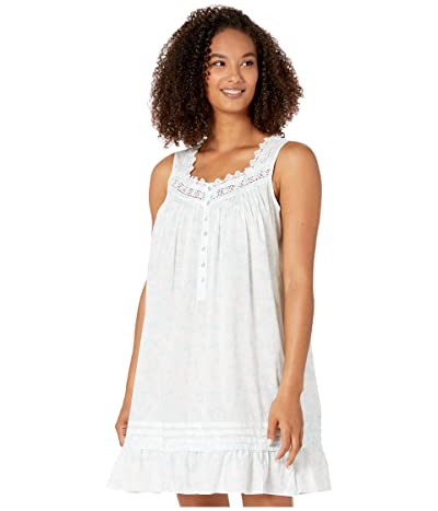 Eileen West Cotton Woven Lawn Sleeveless Short Chemise (White Ground/Etched Floral Scroll) Women