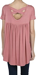SHOP DORDOR Women's Short Sleeve V-Neck High Low Criss Cross Back Tunic Tops