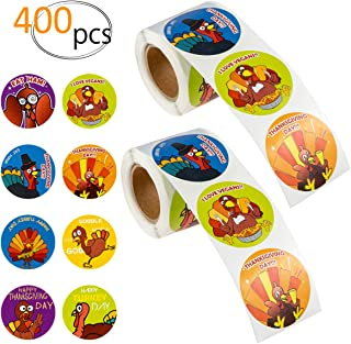 MADHOLLY 400 Pieces Funny Thanksgiving Stickers- Fall Holiday Turkey Stickers Turkey Perforated Roll Stickers for Thanksgiving Party Decor Supplies Favors Goodie Bags (200pcs/Roll)