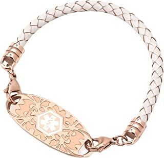 Medical Alert ID Bracelet for Women Leather Band Rose Gold Medical ID Interchangeable Tag (Free Engraving)