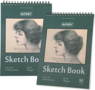"""9 """"x 12"""" Sketchbook. Top Spiral Binding, Acid-Free Paper, 1 Pack (100 Pages, 68 lb / 100 GSM) for Amateur & Professional A..."""