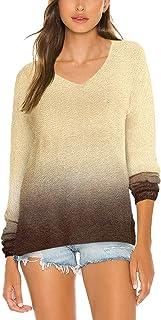 Viottiset - Sudadera de manga larga con cuello en V y tinte para mujer