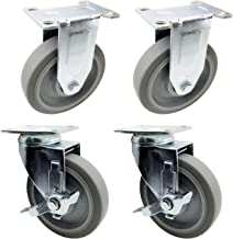 150 Lbs Per Caster DGQ Pack of 4-2 Swivel Caster Wheels with Safety Dual Locking and Polyurethane Foam No Noise Wheels 2 with Brakes,2 Swivel Heavy Duty