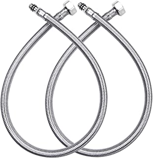 Vataler 16-Inch Long 1/2`` Female Compression Thread x M10 Male Connector Vessel Sink Water Supply Hoses Braided 304 Stain...