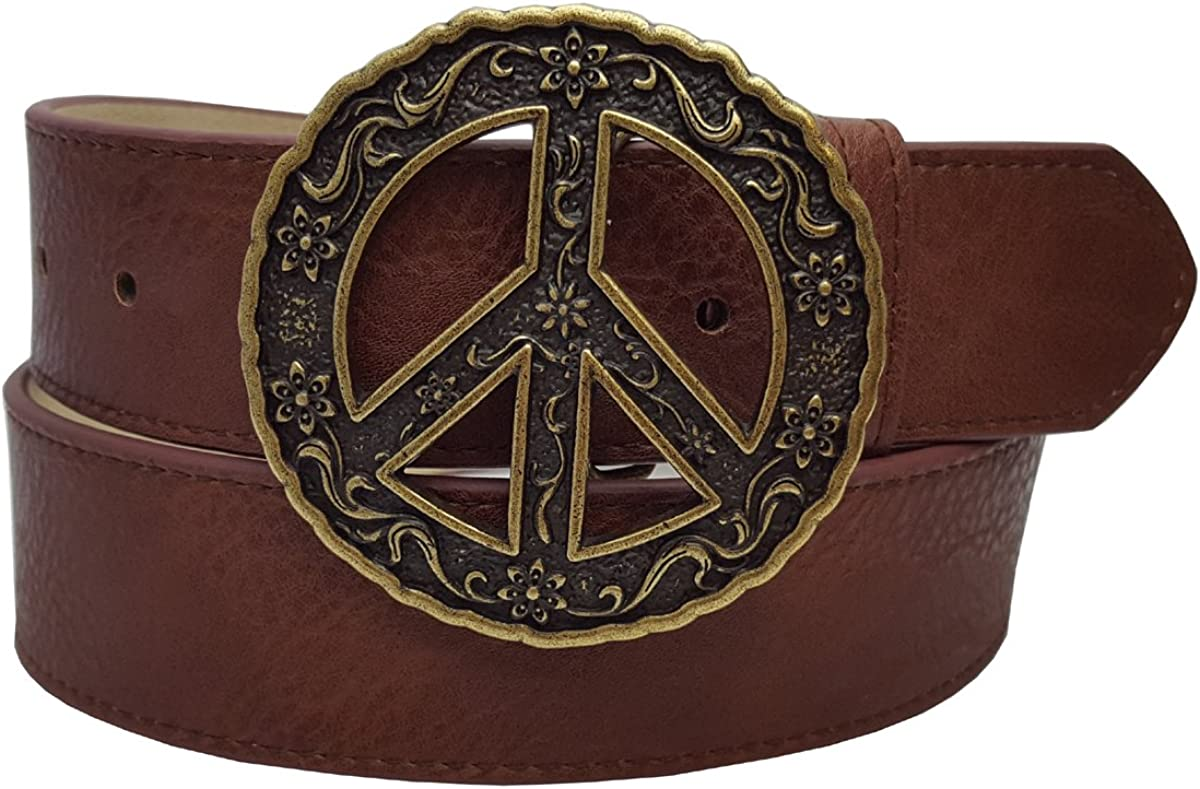 Unique Peace Sign Buckle with a on belt Max 85% OFF Pebble grain snap latest Vegan