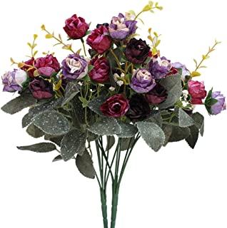 Luyue 7 Branch 21 Heads Artificial Silk Fake Flowers Leaf Rose Wedding Floral Decor Bouquet,Pack of 2 (Purple Coffee)