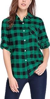 Women's Roll Up Sleeves Buttoned Boyfriend Plaids Shirt