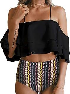 ملابس سباحة قطعتين تيمبت مي للنساء بلا اكتاف مكشكشة بلوزة قصيرة نمط بكيني والسروال بتصميم مفرغ
