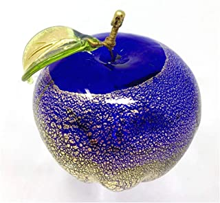 Murano Glass Cobalt Blue Apple Figurine, Made in Italy