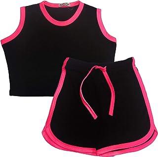 Kids Girls Shorts 100% Cotton Contrast Taped Summer Black Top & Hot Shorts Sets
