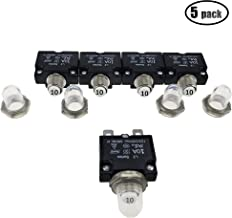 IZTOSS 5PCS 10Amp Circuit Breakers with manual reset Waterproof Button transparent Cover DC50V AC125-250V with Quick Connect Terminals