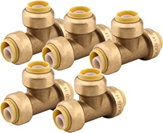 Tee Plumbing Fitting Pipe Connector - PEX Fittings 1/2 Inch Push to Connect Coupler Copper Pipe Quick Connect Fitting, Pack of 5