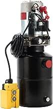 CO-Z Hydraulic Pump for Car Lift, Single Acting Hydraulic Power Unit for Dump Truck Dump Trailer with Steel Reservoir, Double Hydraulic Cylinder of 12V Power Supply & 6 Quart