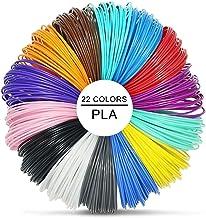 3D Pluma Filamento Rellenar PLA - 22 Colores 220 Meters 5 Brillo en la Oscuridad 5 Colores Fluorescentes 1.75mm 10M Cada Color Mejor para la Salud del Niño