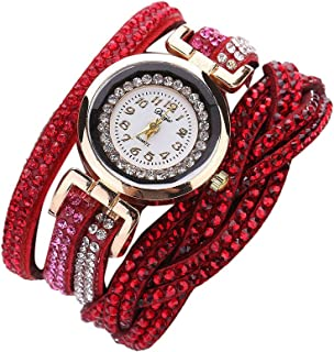Yaida💞💞Women Luxury Crystal Women Gold Bracelet Quartz Wristwatch Rhinestone Watches