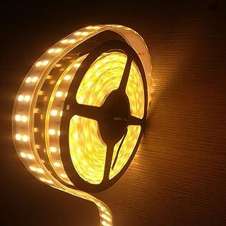 高輝度LEDテープライト 5m 防水 12V 600連SMD5050 二列式 カバー付 白 ホワイト 白ベース 正面発光 漁船/船舶/トラック/航海灯/屋外照明/led間接照明 (電球色, 12v)