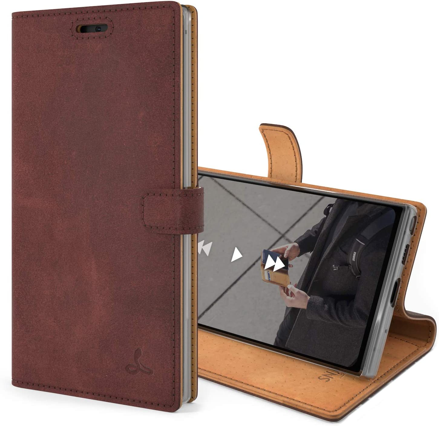 Snakehive Vintage Wallet for Samsung Galaxy Note 10    Real Leather Wallet Phone Case    Genuine Leather with Viewing Stand & 3 Card Holder    Flip Folio Cover with Card Slot (Plum)
