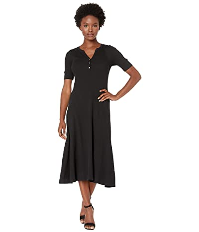 LAUREN Ralph Lauren Petite Waffle Knit Fit-and-Flare Dress (Polo Black) Women