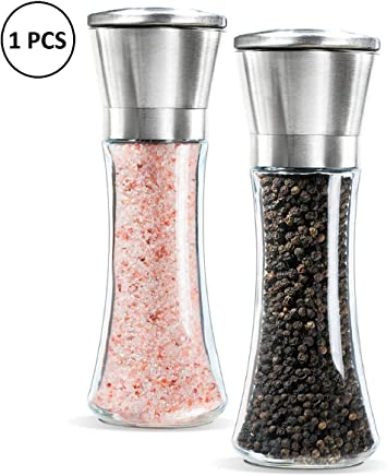 ORPIO (LABEL) Premium Stainless Steel Glass Body Salt and Papper Grinder with Adjustable Ceramic Mechanism - Tall Salt Grinders and Pepper Mill Shaker Set (Silver)