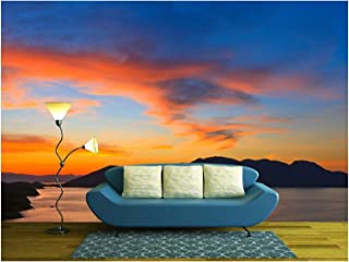 wall26 - Beautiful Sunset in Greece - Removable Wall Mural | Self-Adhesive Large Wallpaper - 100x144 inches