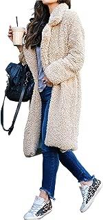 Womens Fuzzy Fleece Lapel Coat Faux Fur Warm Winter Outwear Jackets