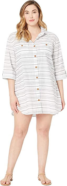 Plus Size Baja Stripe Shirtdress Cover-Up