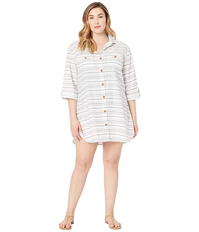 DOTTI Plus Size Baja Stripe Shirtdress Cover-Up (Grey) Women