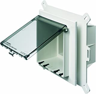 Arlington DBVS2C-1 Low Profile IN BOX Electrical Box with Weatherproof Cover for Vinyl Siding, 2-Gang, Vertical, Clear