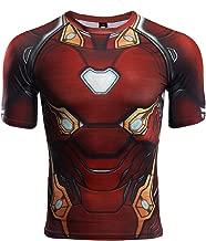 Infinite War Iron Man Compression Shirt Short Sleeve Men's Fitness Top