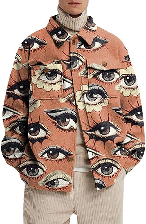 Men's Pattern Stylish Coat Printing Slim-fit Lapel Shirt Woolen Jacket School Jacket