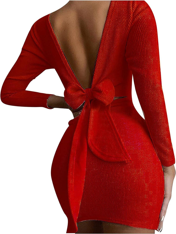 lcziwo Women's Sexy Casual Long Sleeve Short Dress Autumn Bow Knitting Dresses Bodycon Backless Mini Dress