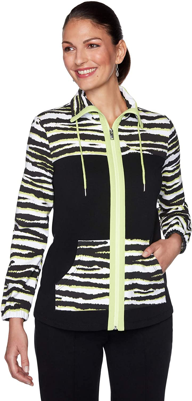 Ruby Rd. Womens Petite Zip-Front Zebra Print Jacket