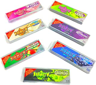 Juicy Jay's Superfine Flavored Hemp Rolling Papers Bundle- 1 Each, Watermelon, Vanilla, Sticky Candy, Blueberry, BlackBerry, White Grape, and Greenleaf