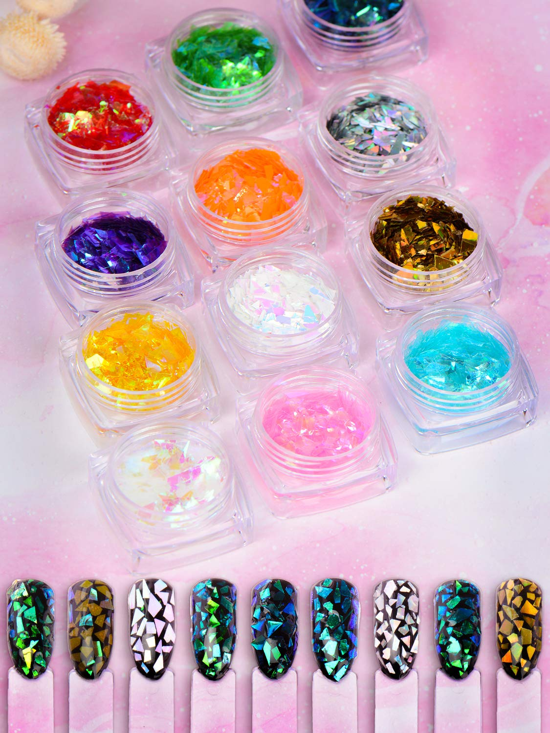 Warmfits Mermaid Nail Glitter Set 12 Boxes Nail Sequins Flakes Set Irregular Iridescent for Nails Art Manicure Tips Decoration Eyes Face Body Hair DIY Craft : Beauty & Personal Care