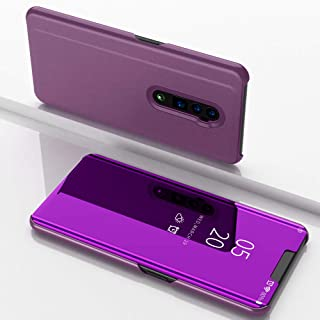 Custodia® Mirror Plating Clear View Stand Function Flip Case for OPPO Reno 10x zoom (Glamour Purple)