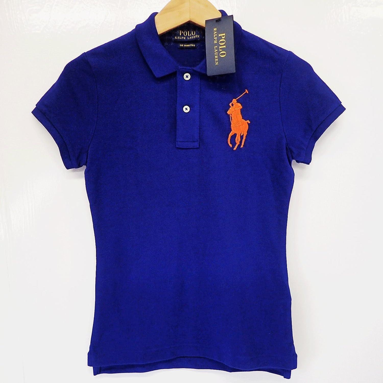 ラルフローレン レディース 半袖 ポロシャツ ビッグポニー XSサイズ スキニーポロ 綿100% ブルー系 [未使用]中古