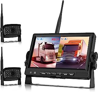 Bakre kamera sladd, lastbil backkamera trådlös, backkamera set digital AHD videoinspelning med dubbla kameror DVR, (bakre ...