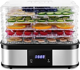 Costzon Food Dehydrator, Electric 5-Tire Fruit Vegetable Dryer with Adjustable Timer and Temperature Control from 104℉-158℉, 5 Stackable Drying Trays (Electric Button)