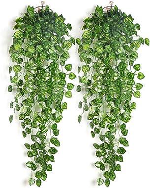 OIJN Vigne artificielle suspendue, lierre, vigne, verte, plantes tombantes, plantes artificielles, murs, jardins intérieurs e