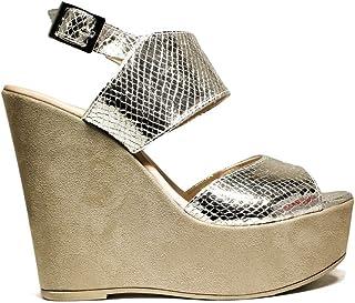 0ba724d116 DAVID HARON P318F5Z PYTHON zapatos de las sandalias de la cuña, tacón alto,  NUEVA